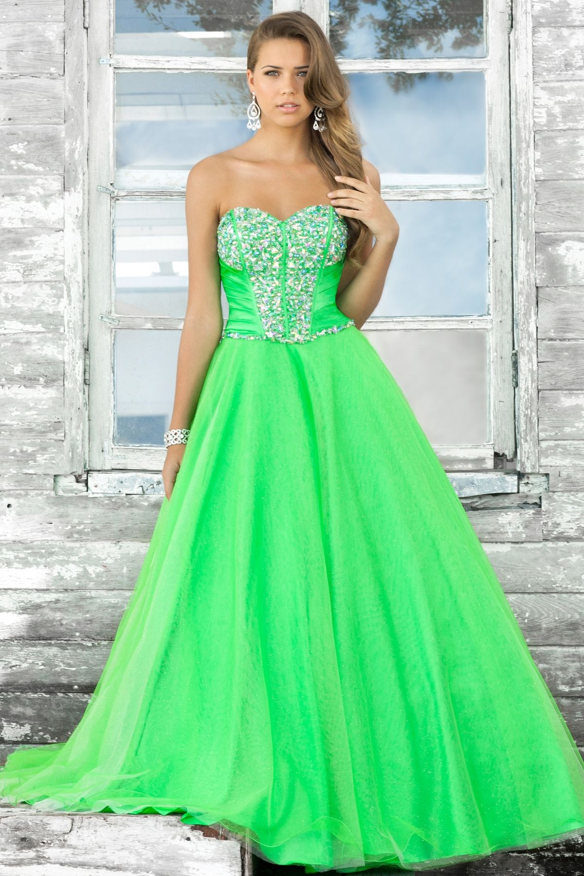 green wedding dresses Beautiful apple green ball gown prom dress http www blushprom com