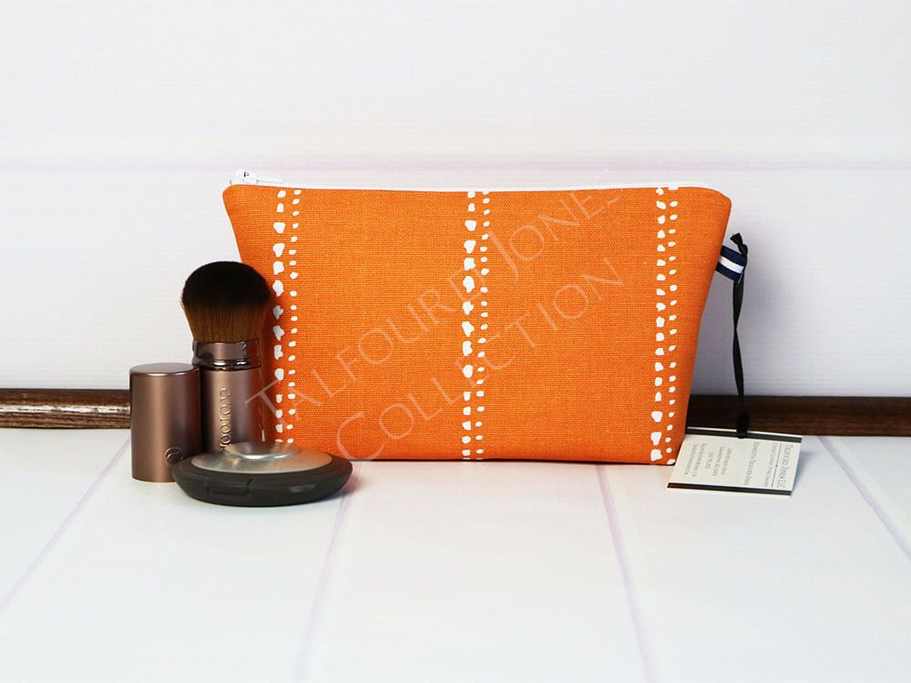 Small Cosmetic Bag - Orange Makeup Bag - Travel Makeup Bag - Fabric Zipper  Pouch - Makeup Storage - Premier Prints Carlo - Gift Idea for Her by ... 607a11e7464c3