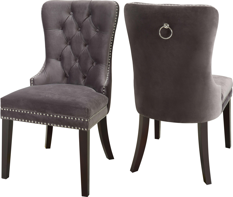 Meridian Nikki Grey Velvet Dining Chair Set Of 2 Reviews