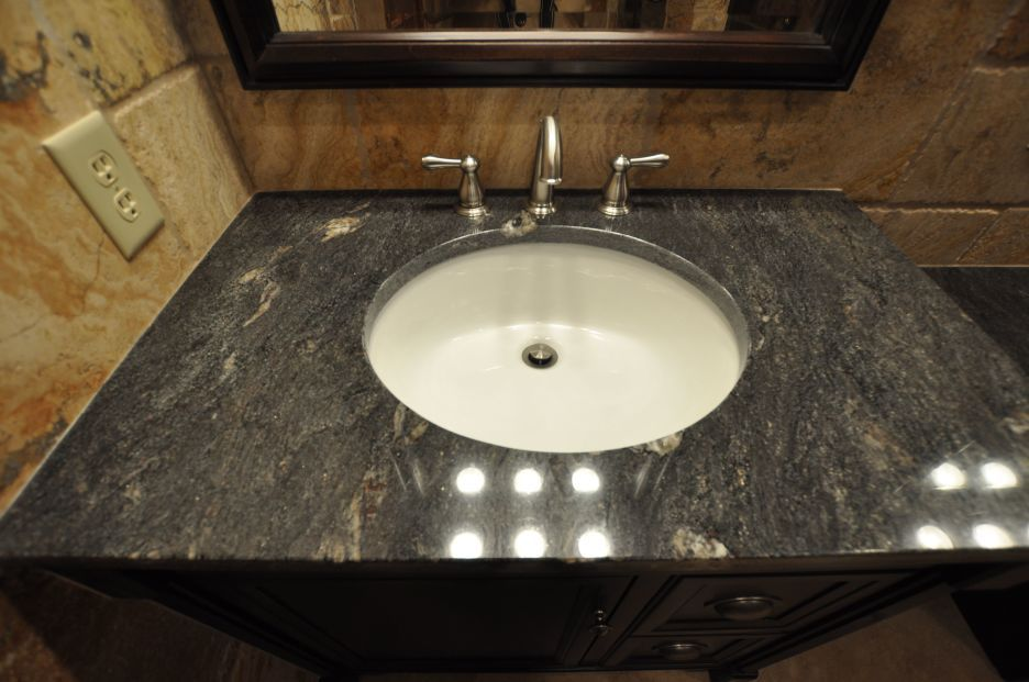 Gray Marble Counter Top For Bathroom Vanity With Rounded Ceramic ...