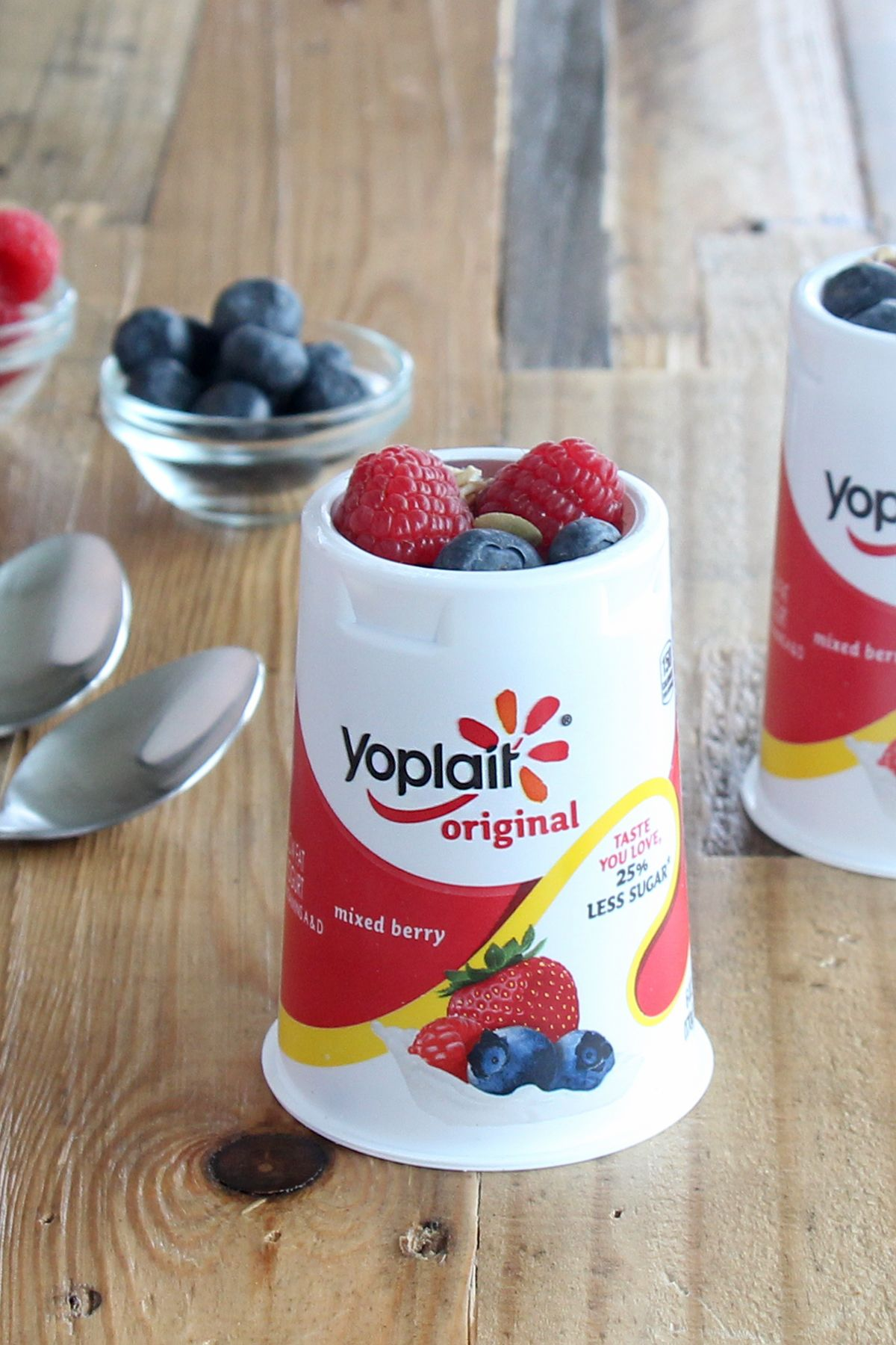 Start with a cup of Yoplait Original Mixed Berry yogurt, add fresh fruit and Nature Valley Blueberry Toasted Oats Muesli. Best idea ever!