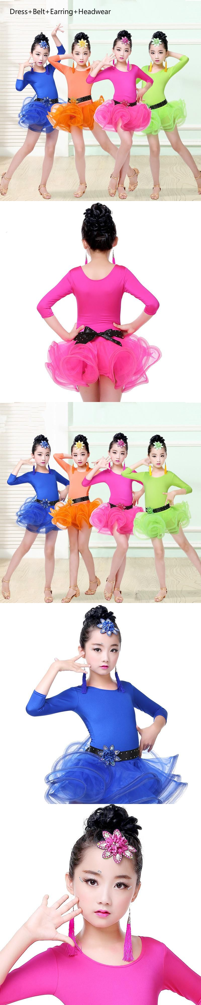 Long Sleeve Child Latin Dance Dress Lace Dance Wear Vestido De Baile ...
