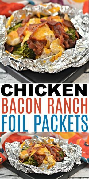 These chicken bacon ranch foil packets are perfect for busy weeknight dinners. These foil packets are also great for camping and when doing meal prep. #foilpackets #chicken #easydinners