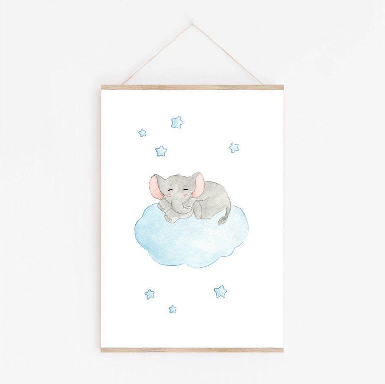 Home Decor Baby Elephant Watercolor Cloud Animal Wall Poster