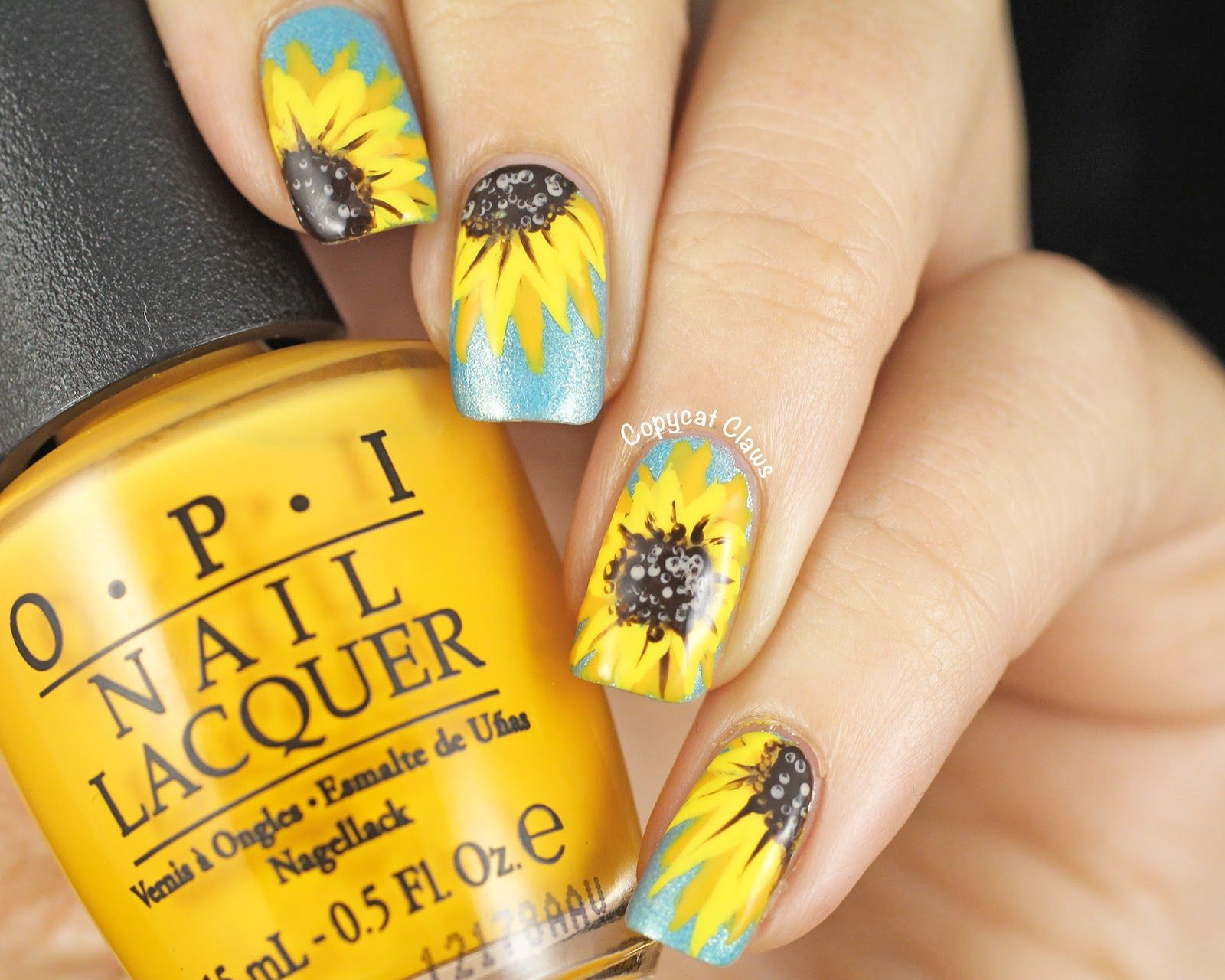 31DC2014 - Yellow Nails - Sunflower Nail Art (Copycat Claws ...