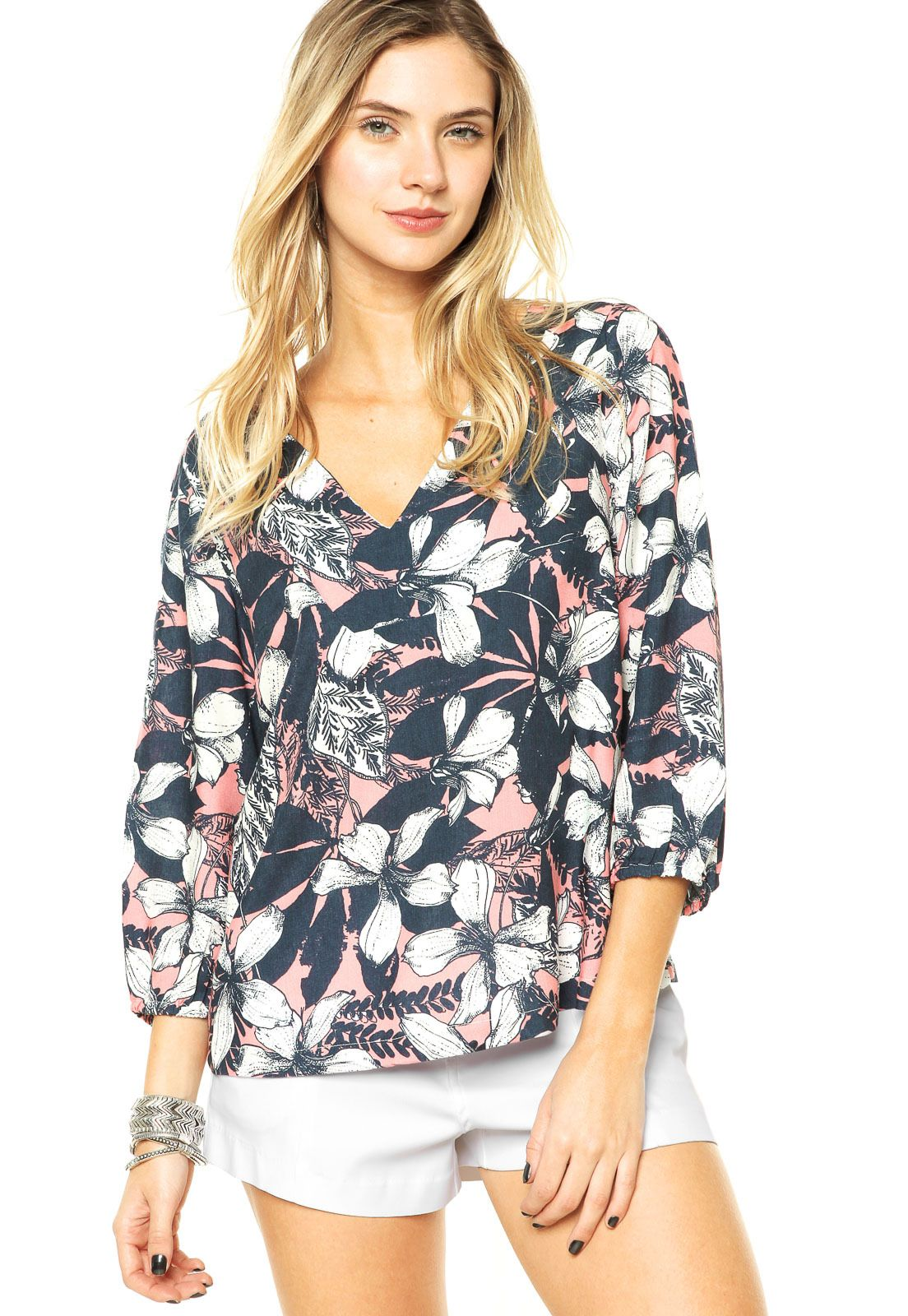 Blusa Mercatto Flores Rosa - Marca Mercatto