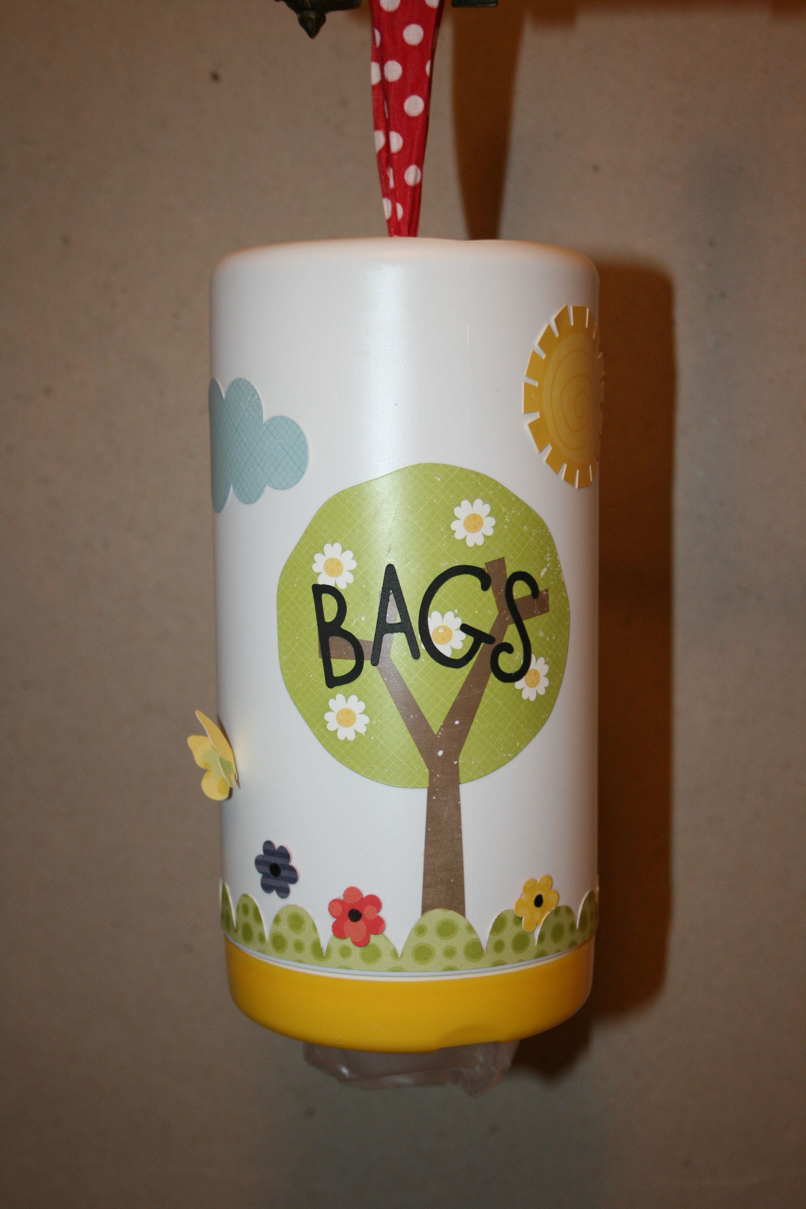 Bag holder, upside down Lysol container Upcycled crafts