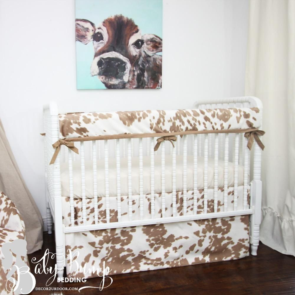 Tan Cowhide Gender Neutral Crib Bedding Set Gender Neutral Crib