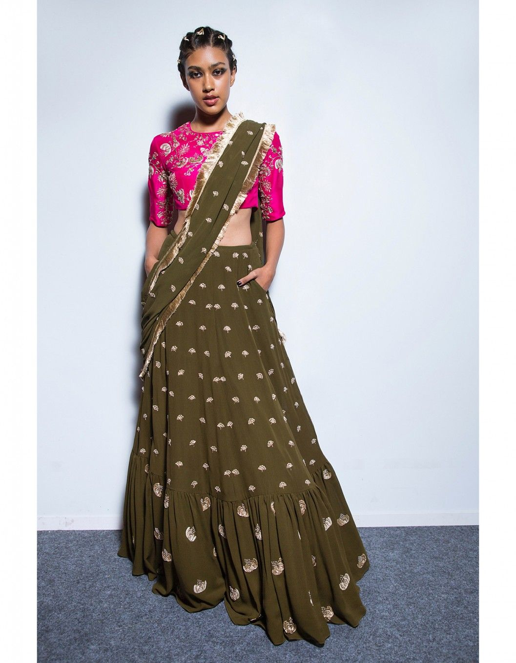 b5194310dd Buy Hot Pink and Olive Sabira Lehenga Set by PAYAL SINGHAL Available at  Ogaan Online Shop