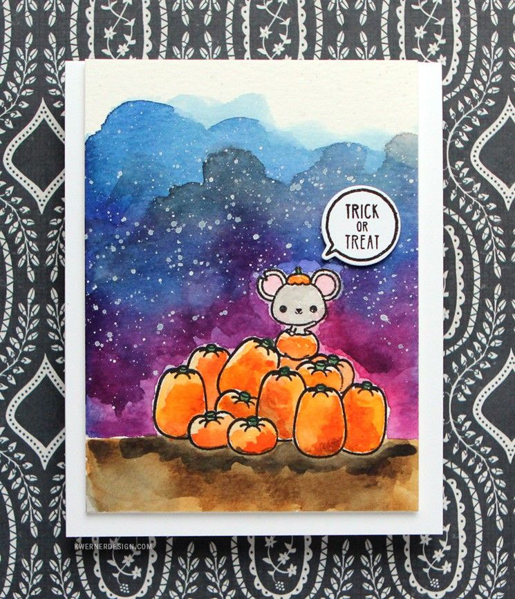 Watercolor Halloween Card Feat Mama Elephant Stamps Mama Elephant Stamps Halloween Cards Mama Elephant Cards