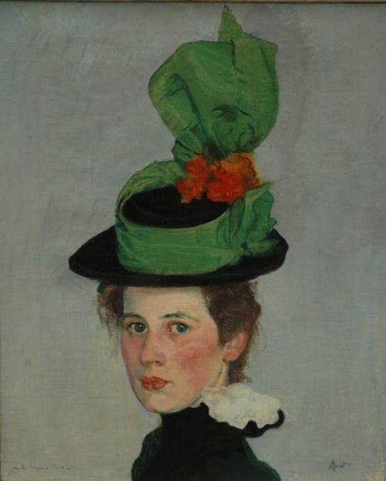 Der grüne Hut (Bildnis Anna Amiet) Portrait of Anna Amiet (The Green Hat) -  Cuno Amiet,  1887.  Swiss painter 1897-1898.   Cozyhuarique