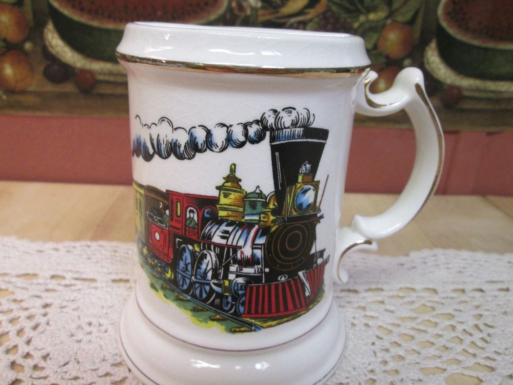 Ceramic Mustache Cup W Train Engine Design Ebay Ceramics Mugs