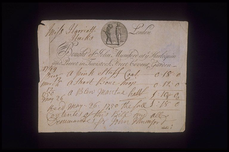 Copper-engraved billhead with handwritten invoice issued by John Mumford, located at the sign of the Harlequin and Pierot, Tavistock Street, Covent Garden. The billhead includes the tradesman's sign of a harlequin and pierrot within a circular medallion. Dated December 1749 to May 1750 the invoice refers to the supply of a bone hoop, blue mantua and pink coat to Mrs Harriet Hucks. Both the engraved and handwritten script are in English round hand. By 1751 this business had been taken over by…