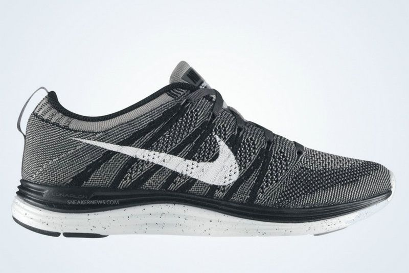 sports shoes e4501 08574 Youth Big Boys Nike Flyknit Lunar 1 Black White Light Charcoal 554888 010