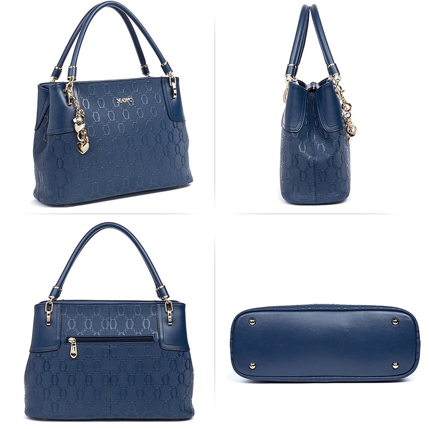 NAWO Leather Designer Handbags Shoulder Tote Top-handle Bag Clutch Purse  for Women Blue d2ae3eb789fbe