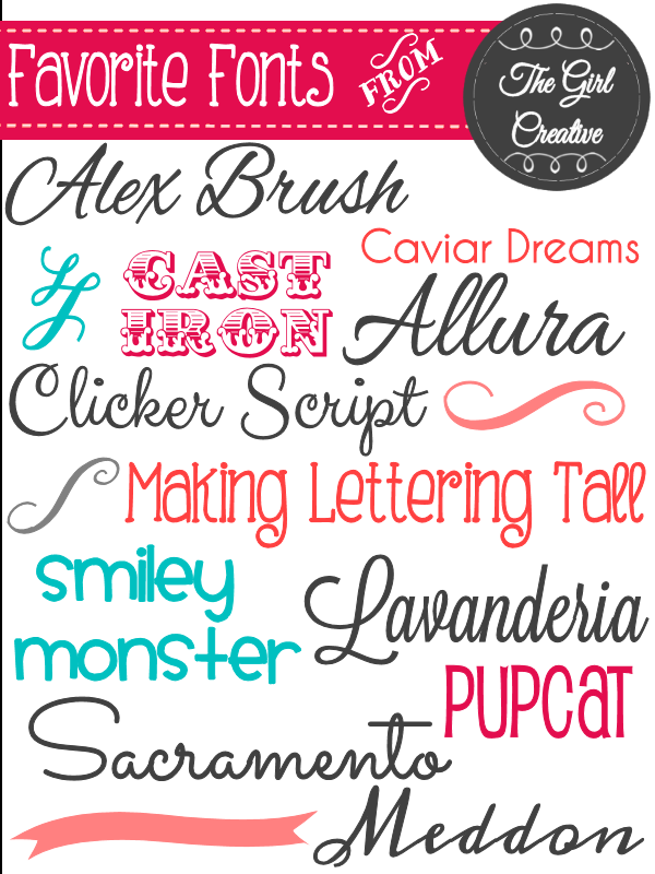 List of my favorite free fonts including links to where they can be downloaded. Some new favorites are Allura, Alex Brush, Clicker Script and Sacramento.