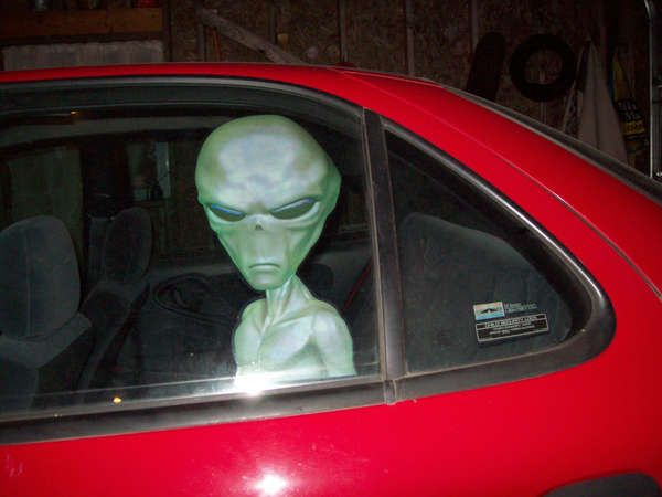 Space Creature Car Decals Aliens Xmas And Window - Vinyl window clings for cars