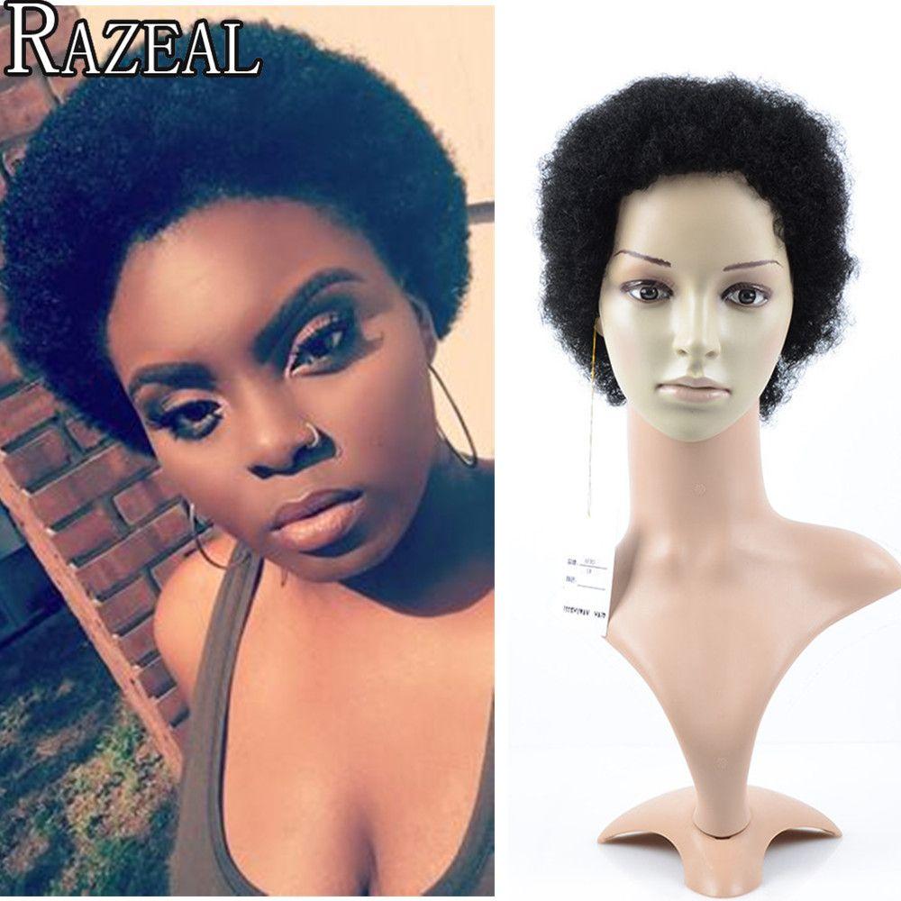 Razeal nuovo arrivo a buon mercato parrucche corti per le donne nere donne sintetiche parrucche nere kinky ricci afro parrucca cosplay perruque