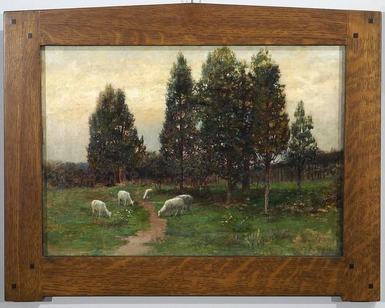 Fine Landscape Painting of Sheep Grazing by Robert Ward van Boskerck 1900