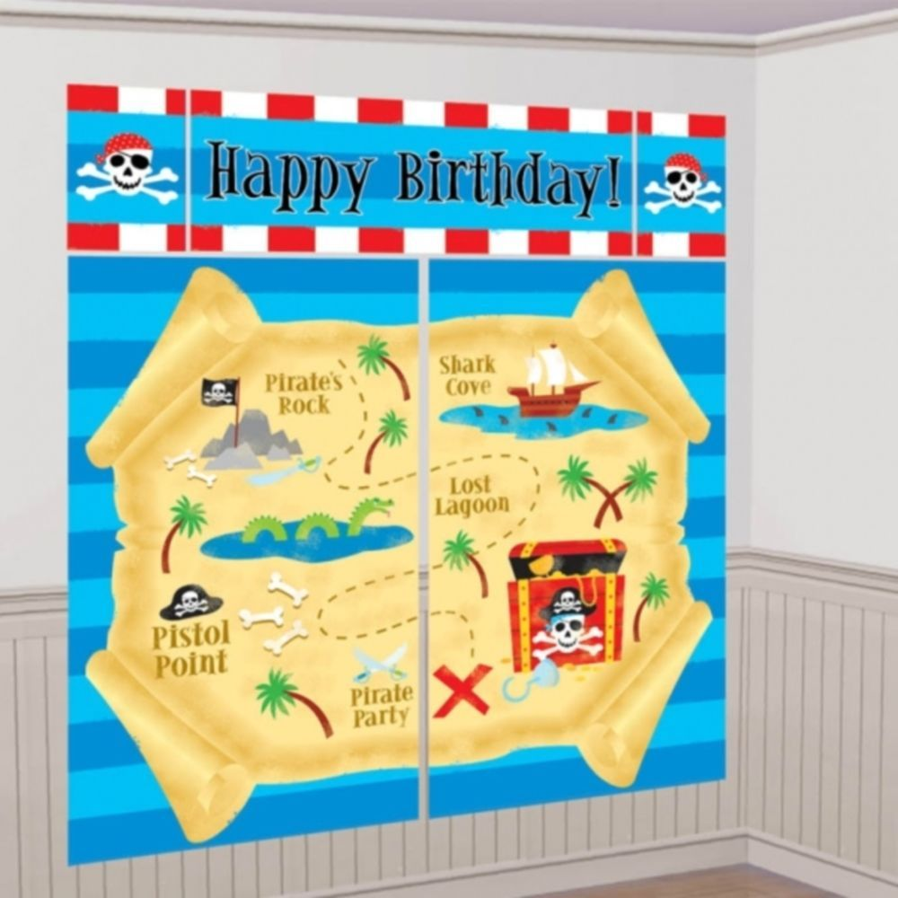 Party Pirate Happy Birthday Scene Setter Add on Banner Wall ...