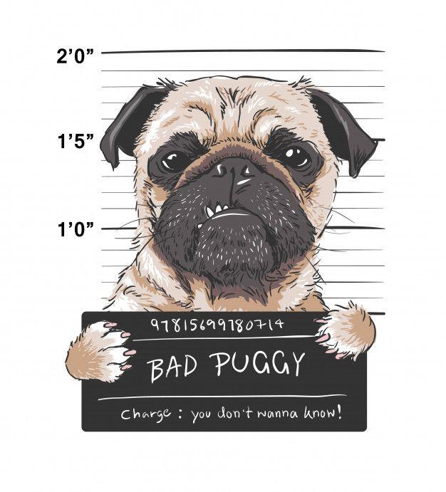 Photo of Ilustración gráfica de Angry Pug Dog Prisoner Premium Vector