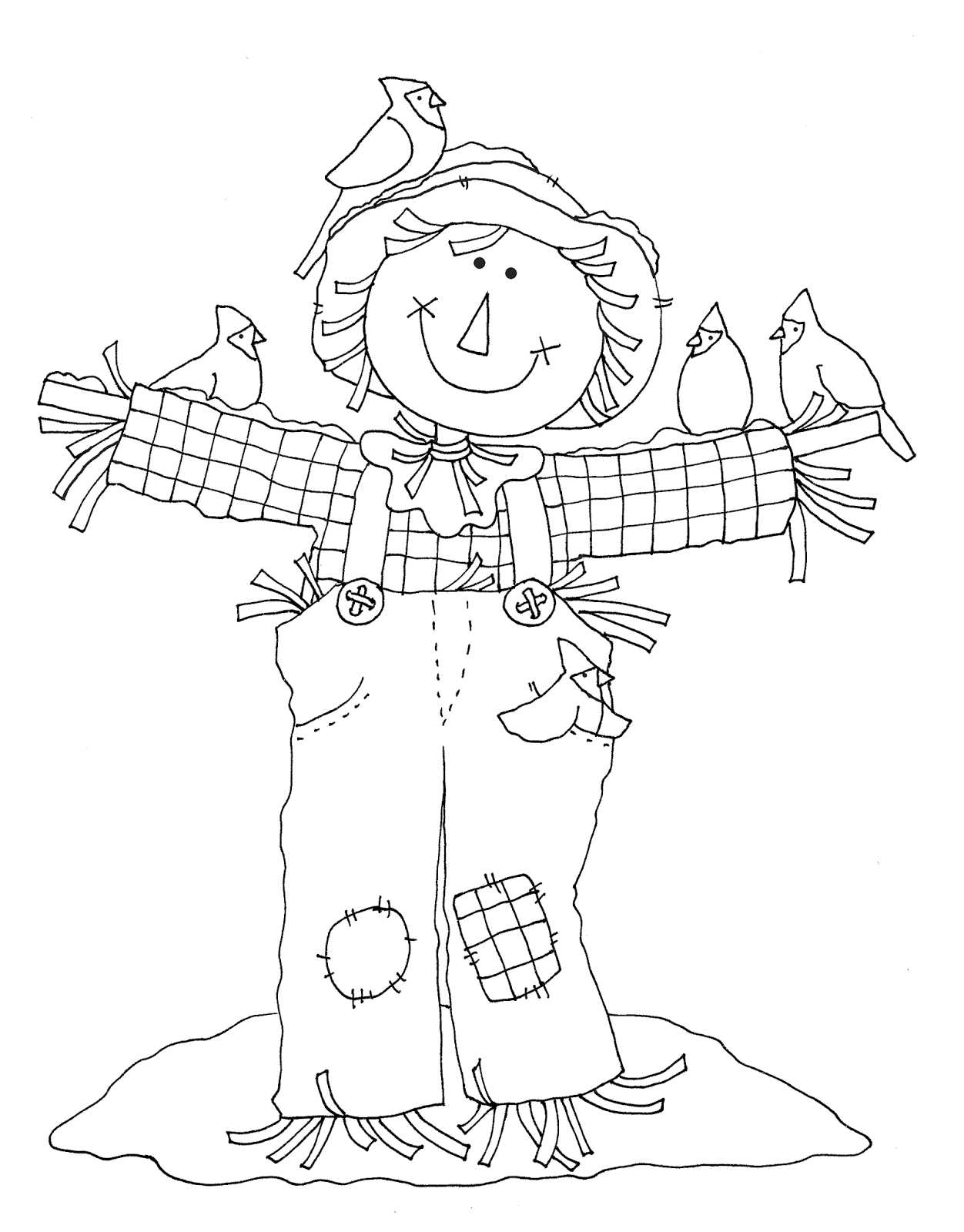 As requested...scarecrow with cardinals | Dearie Dolls Digi Stamps ...