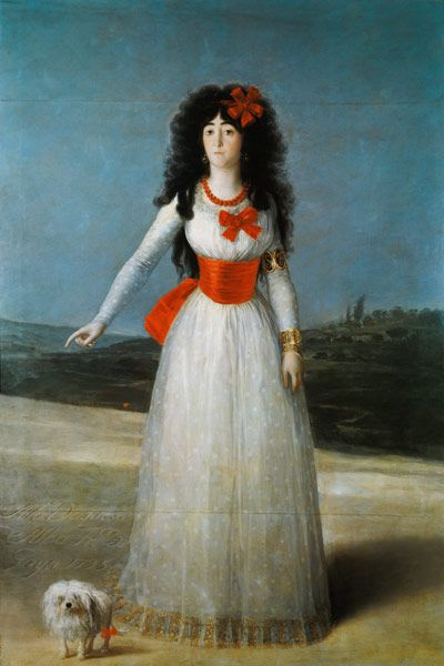 Francisco José de Goya - The duchess of Alba with her Maltese dog.  Discover the coolest shows in New York at www.artexperience...