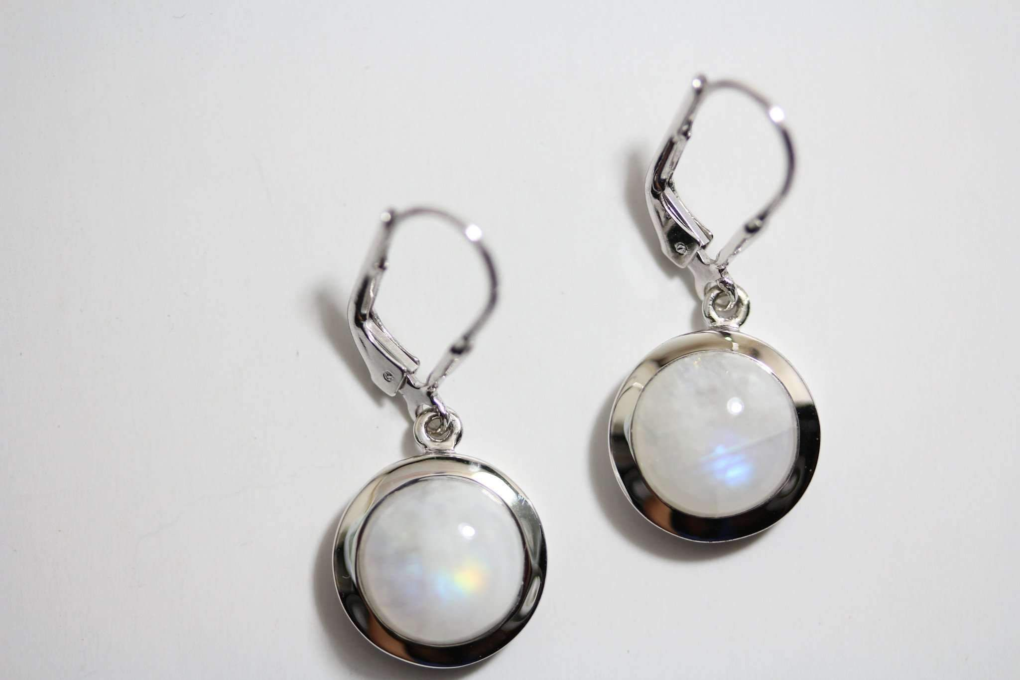 Moonstone Rounds Leverback Earrings