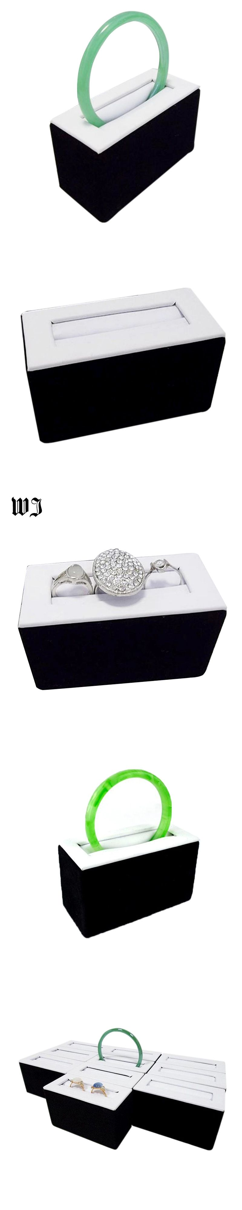 White Faux Leather Black Velvet Jewelry Display Stand Rings Tower