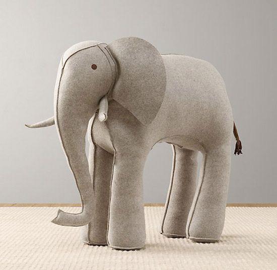 Restoration Hardware Kids Large Wool Felt Elephant Toy Stuffed Animal Nursery Decor Small For
