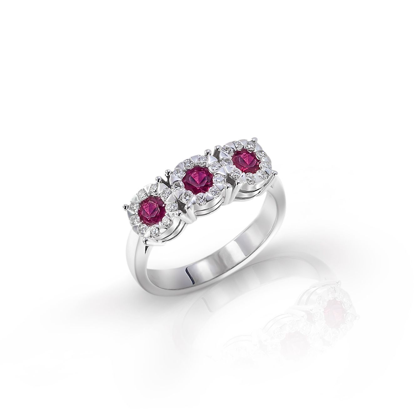 18 carat white gold trilogy style ring with 1 tcw in diamonds and rubies #diamond #diamondring #engagement #ring #luxury #Italian #fiorly @Fiorly  #ruby
