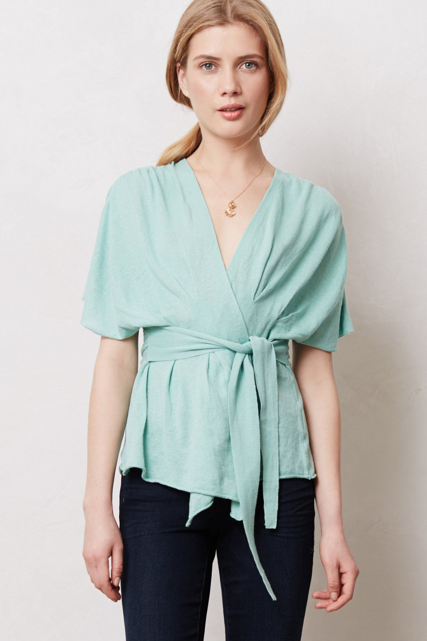 Draped Wrap Sweater in pretty turquoise | Pretty Products - To ...