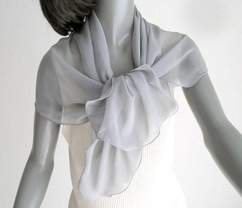 "Gray Silk Scarf Shoulder Wrap 100% Silk Chiffon 8mm, 20"" x 42"" 