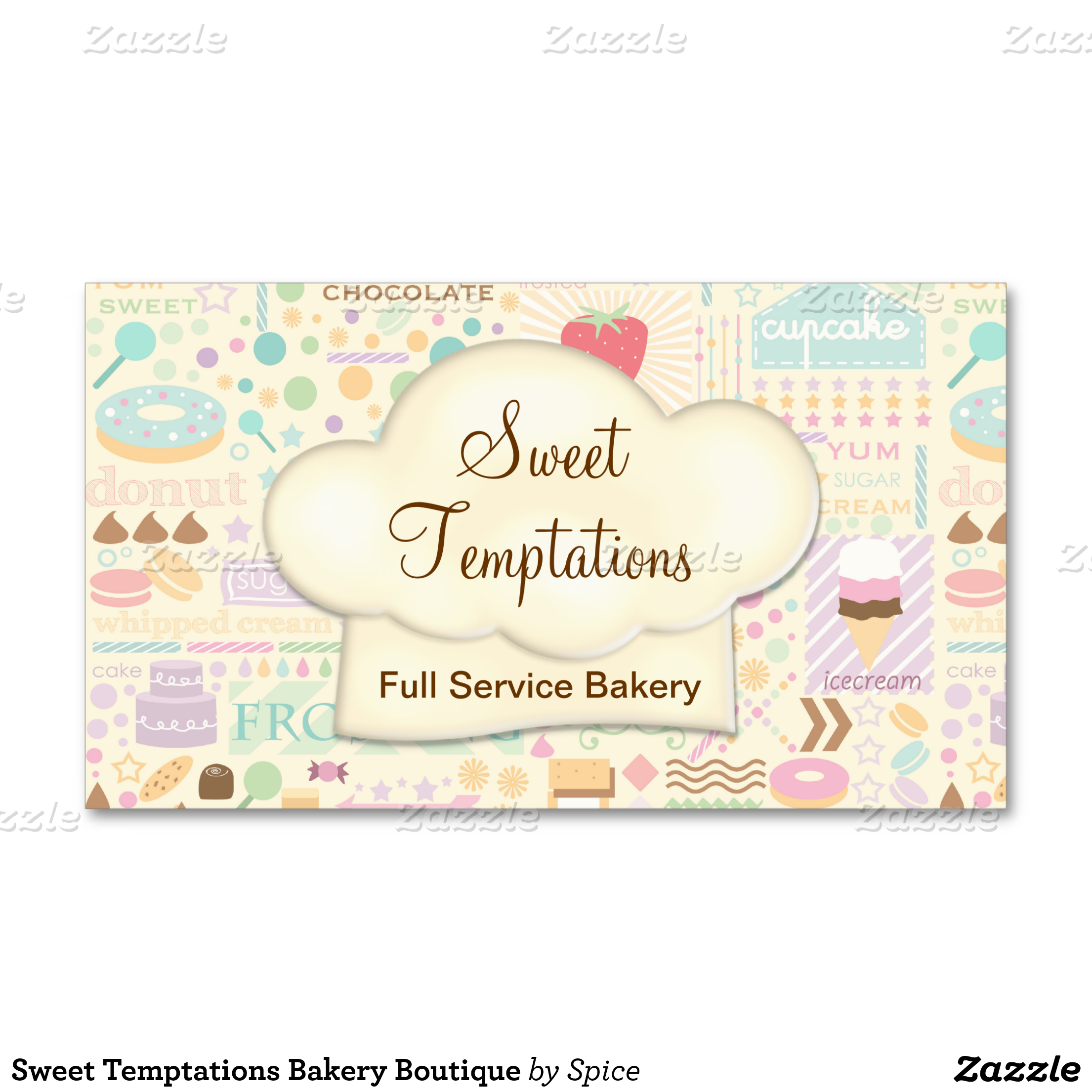 fun whimsical bakery business card or event catering business full