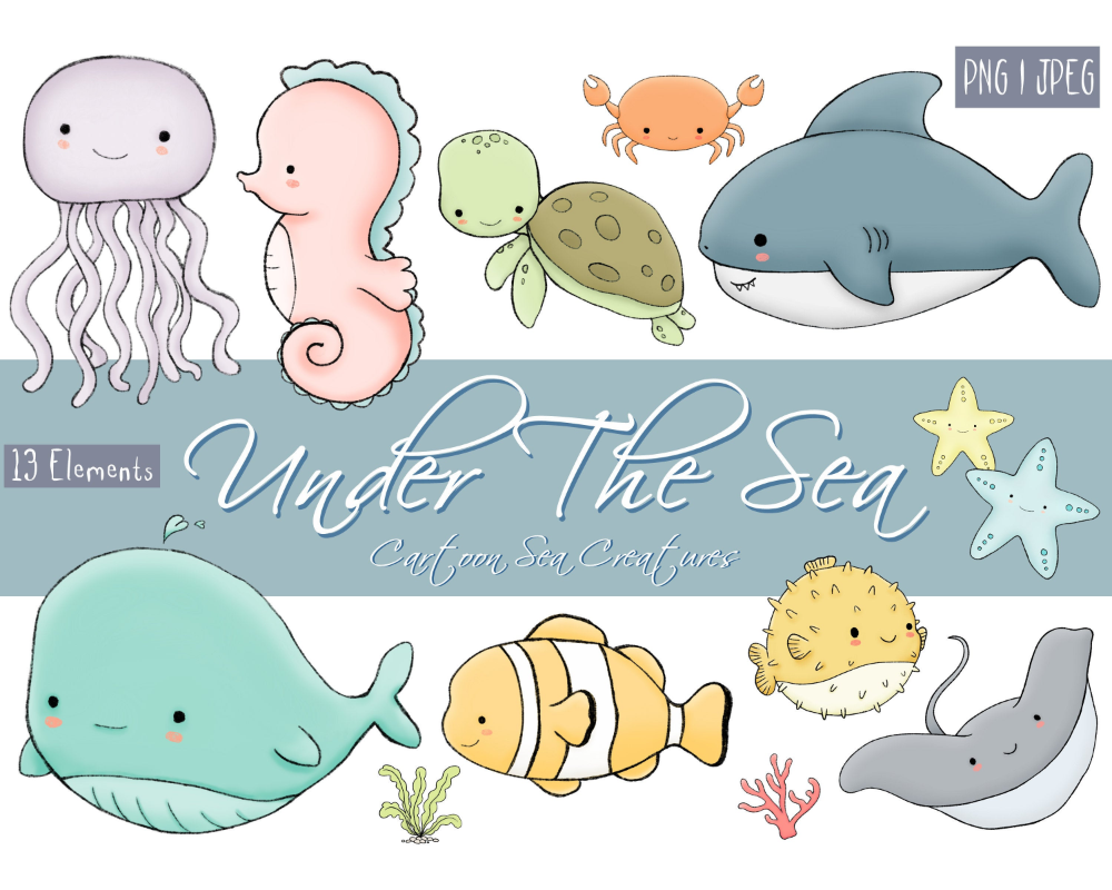 Under The Sea Cartoon Sea Creatures 13 Clip Art Elements Png Jpeg For Commercial Use Under The Sea Under The Sea Drawings Sea Drawing