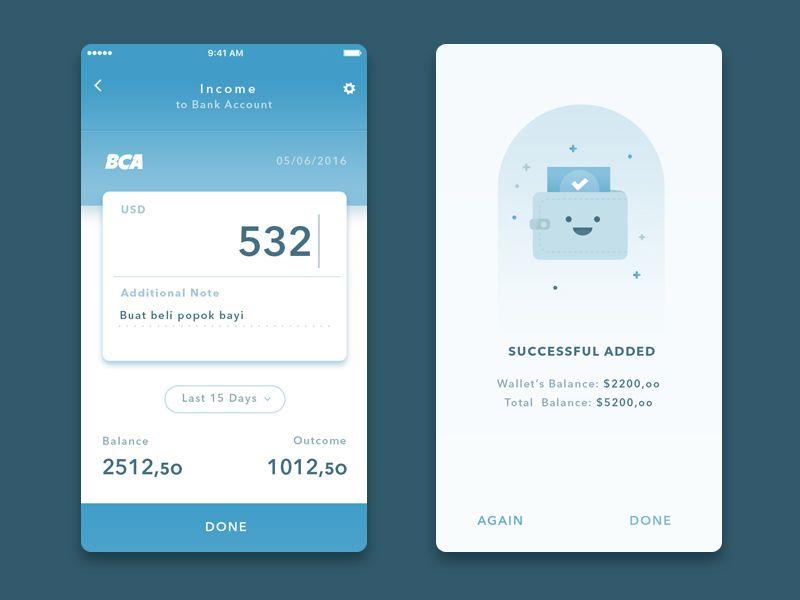 Simple Wallet App2 Ux Design Concepts Pinterest App Ui Mobile