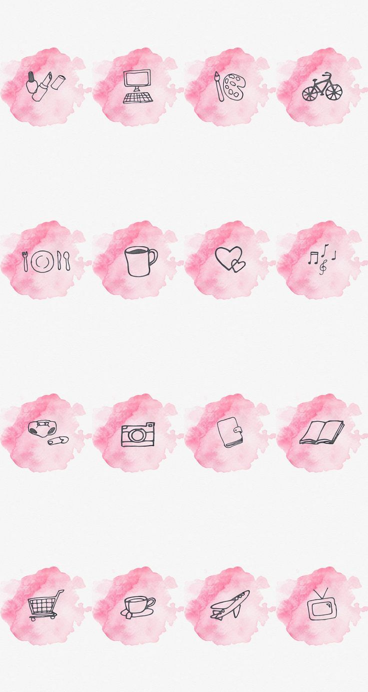 Instagram Story Highlight Cover - Set of 16 - Pink Watercolor - Bookstagram - Lifestyle Bloggers - #bloggers #Bookstagram #Cover #Highlight #Instagram #Lifestyle #pink #set #story #Watercolor #highlightsinstagram