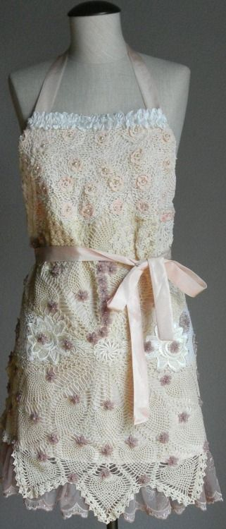 Romantic Embellished FULL APRON with Vintage Crochet Doilies Embellishment - too pretty to use!