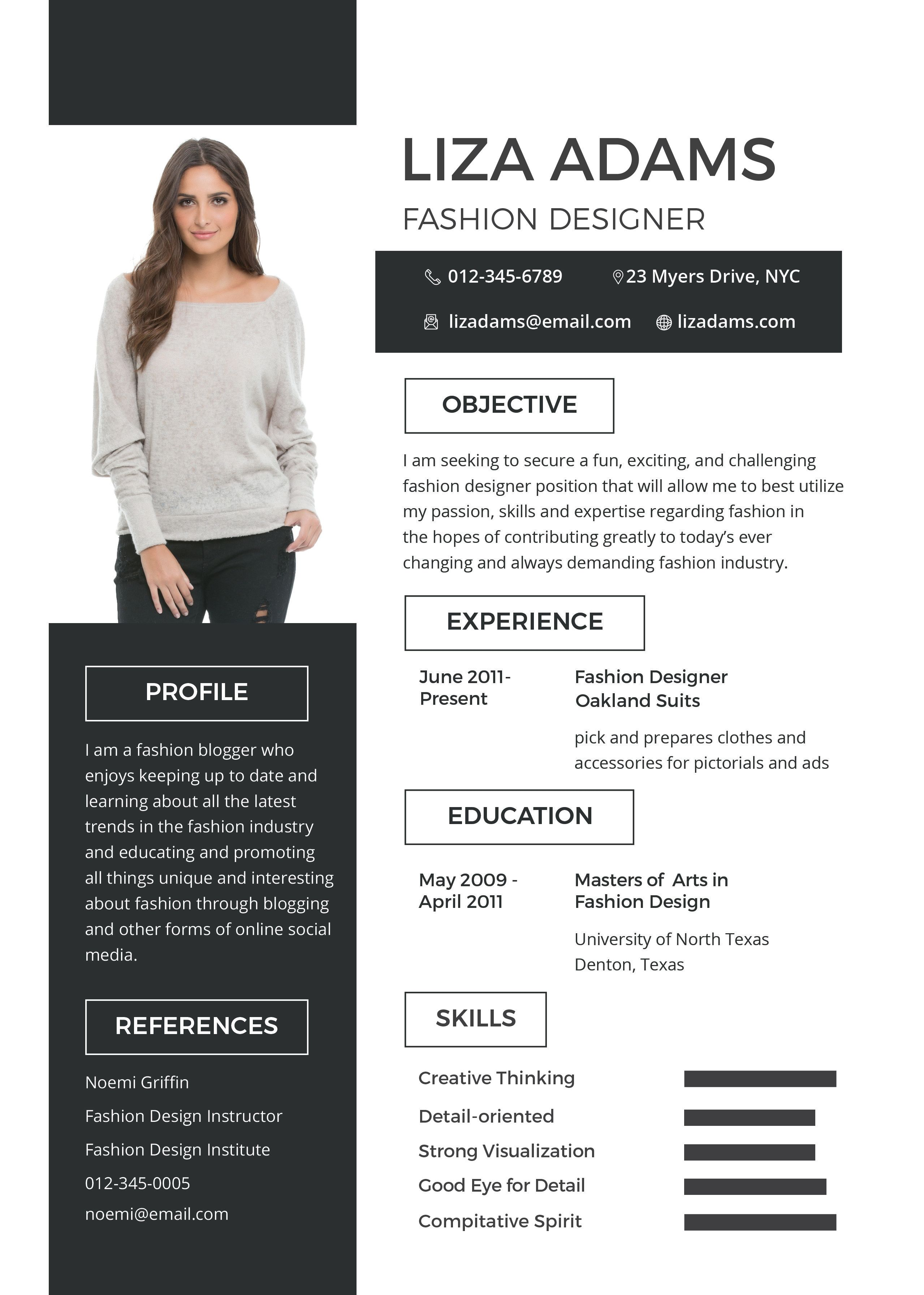 Free Fashion Designer Resume Template Fashion Designer Resume Fashion Resume Resume Design