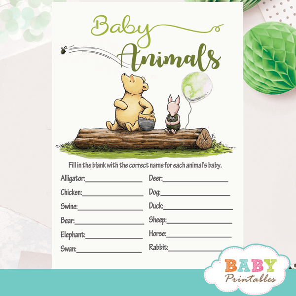 Gender Neutral Winnie The Pooh Baby Shower Games – D291 – Baby Printables