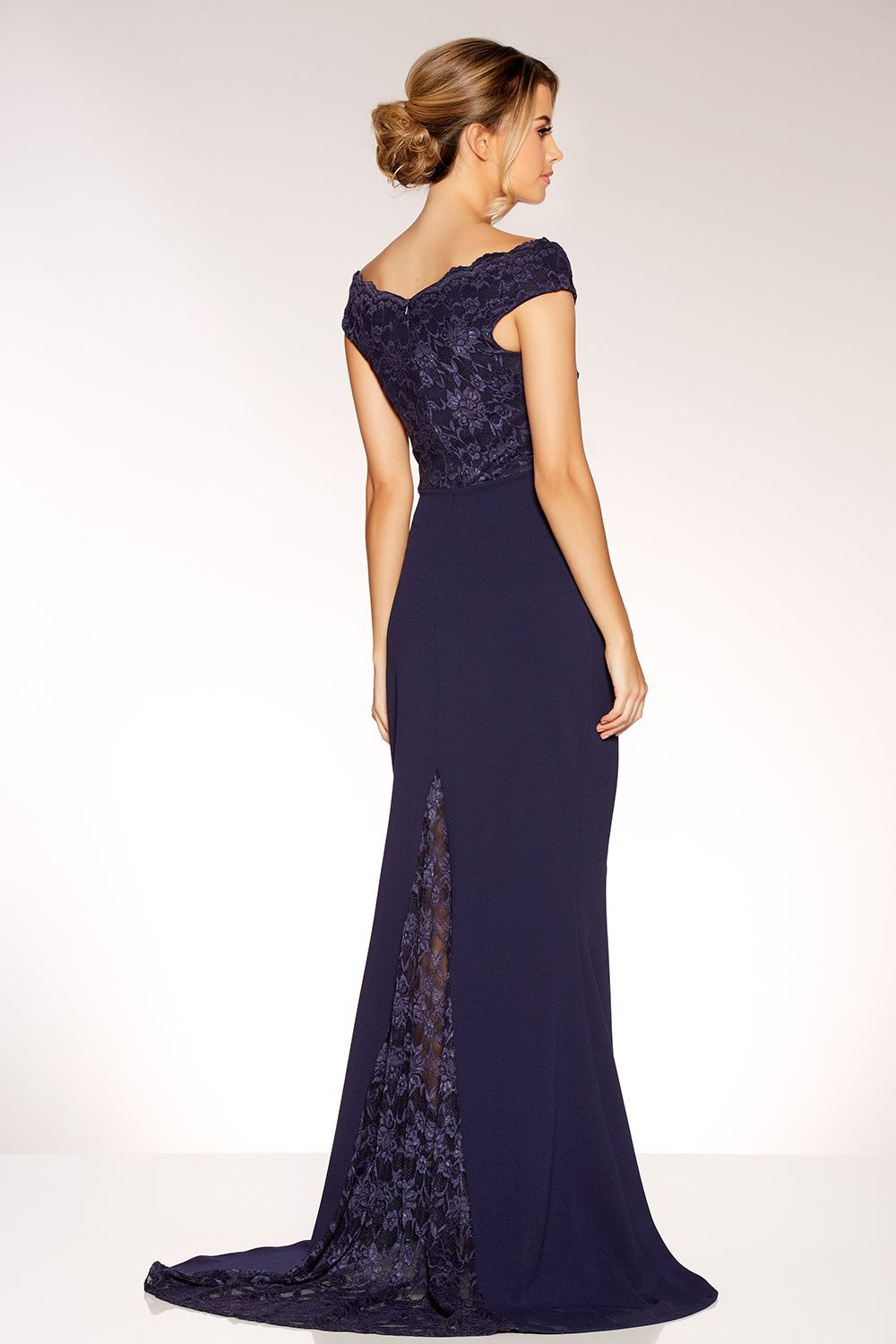 8e71c1f40ad Navy Lace Bardot Fishtail Maxi Dress - Quiz Clothing