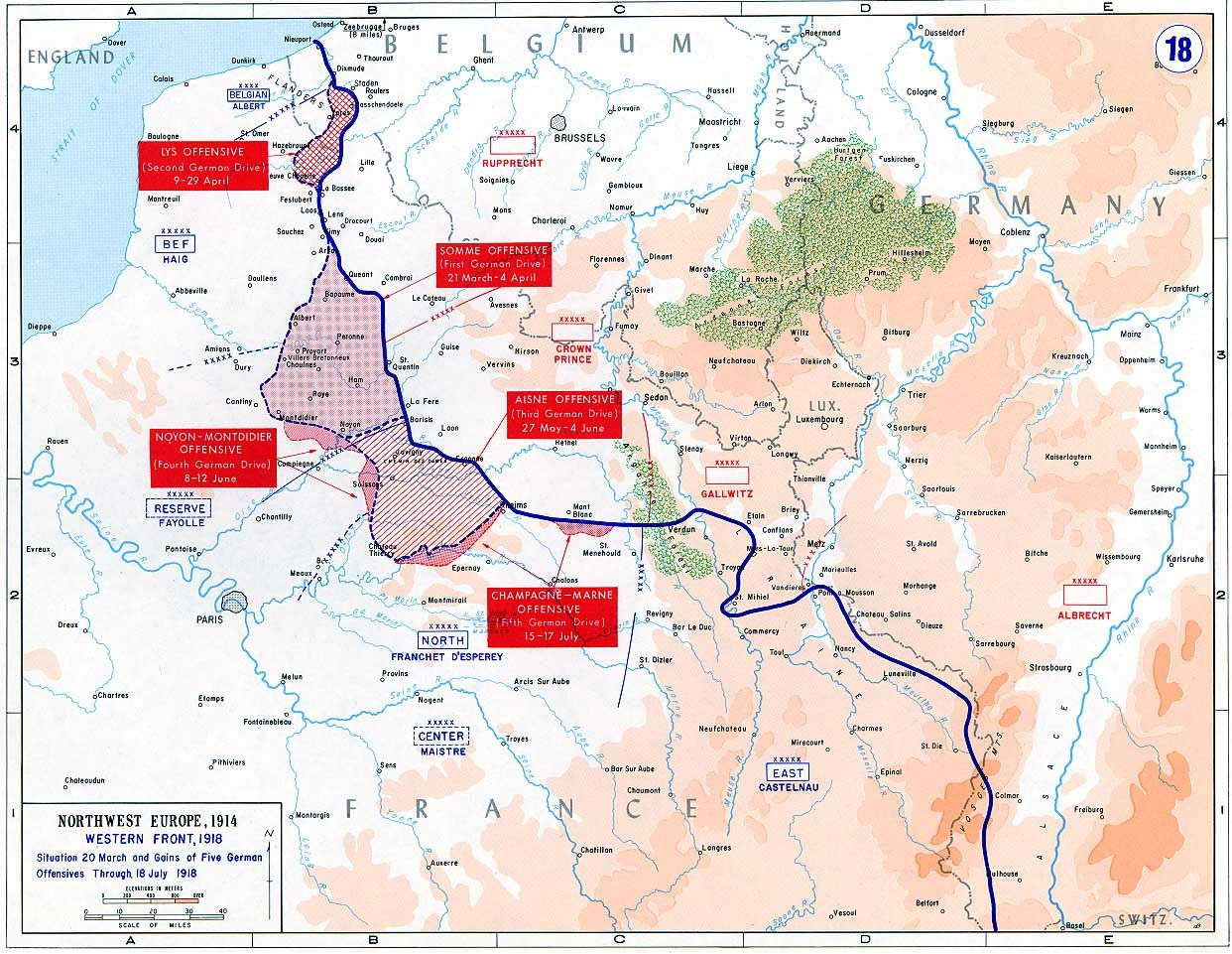 Map illustrating some of the major battles of wwi world war i map illustrating some of the major battles of wwi spring offensivemilitary historyworld gumiabroncs Gallery