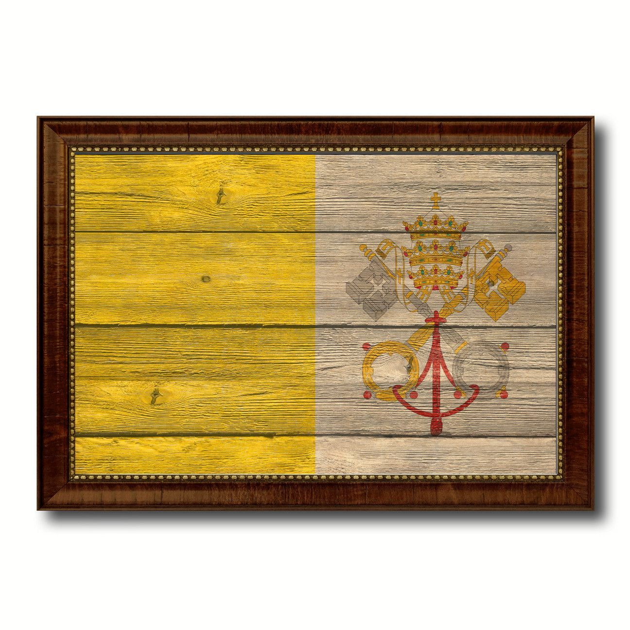 Vatican City Country Flag Texture Canvas Print, Custom Frame Home ...