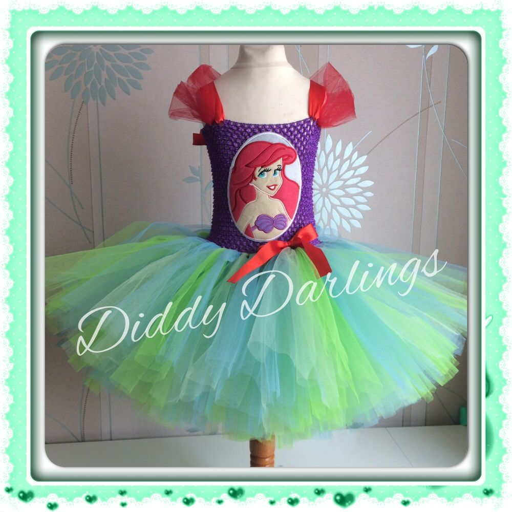 Little Mermaid Tutu Dress. Ariel Tutu Dress. Purple and Green Tutu Dress. Princess Tutu Dress. Beautiful & lovingly handmade.  Price varies on size, starting from £25.  Please message us for more info.  Find us on Facebook www.facebook.com/DiddyDarlings1 or our website www.diddydarlings.co.uk
