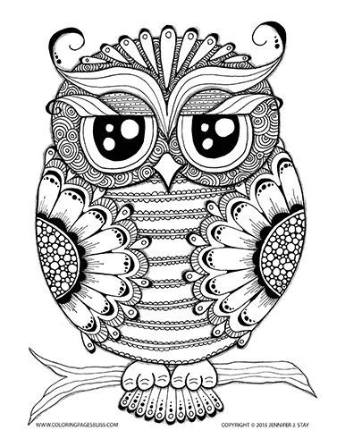 Owl Coloring Page Pages For Adults And Grown Ups Stress Relief