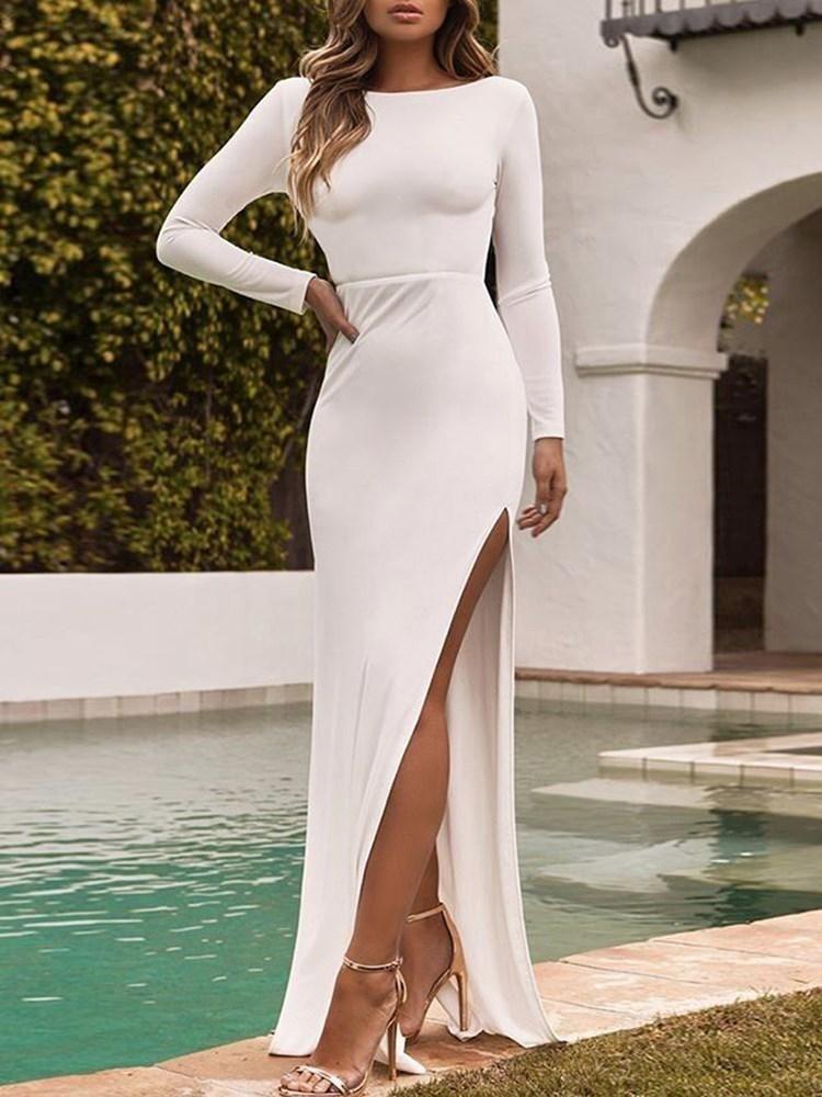 8505f267b0 Sexy Backless Split Long Sleeve Maxi Dress in 2019