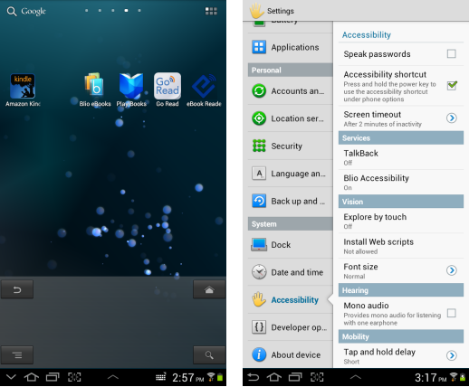screenshot of homepage and menu from android ice cream