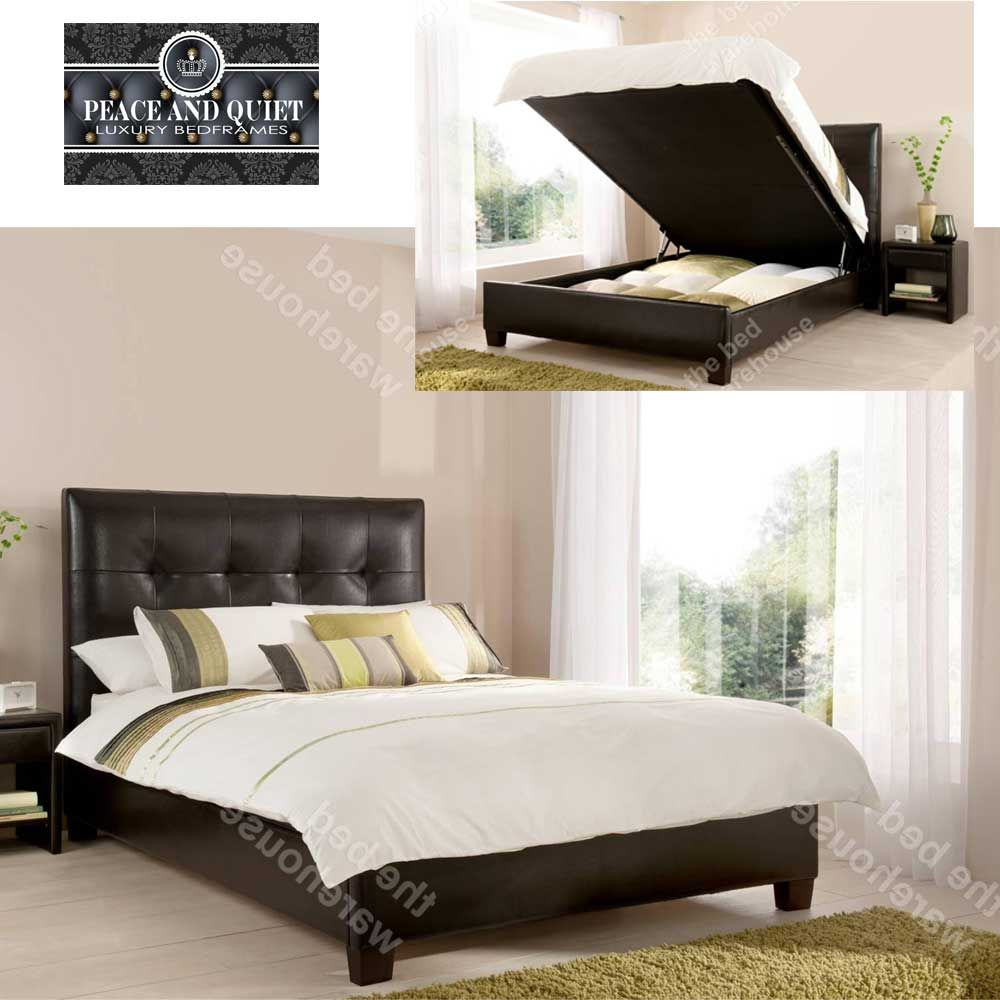 walker brown leather kingsize ottoman storage bed frame from the bed