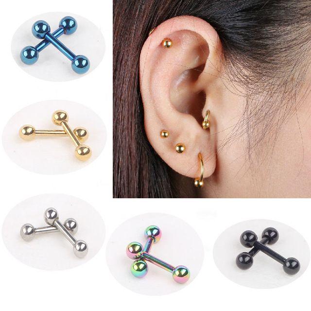 2pcs High Quality Gem Barbell Ear Cartilage Tragus Helix Stud Earring CA