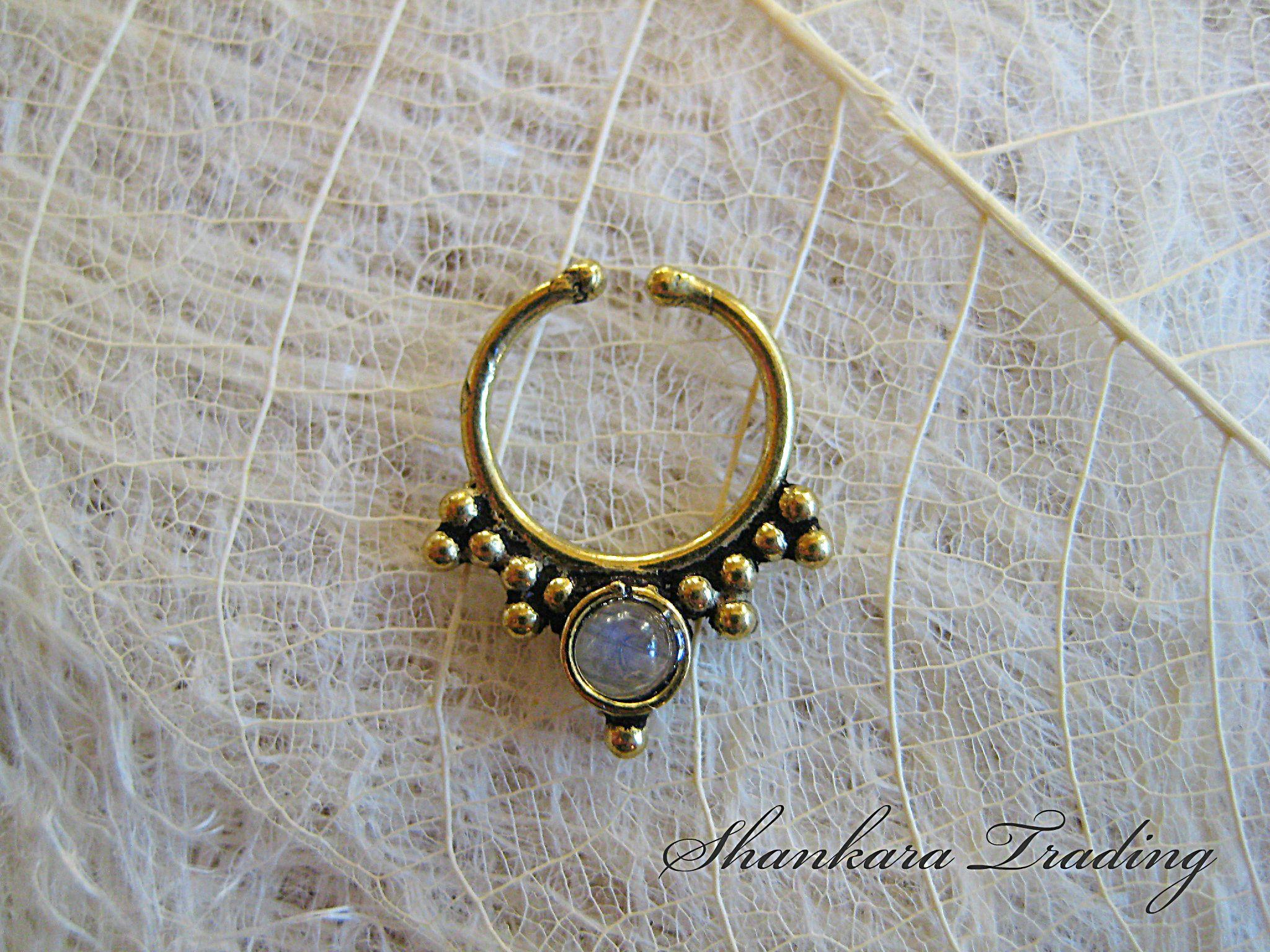 Fake Septum Nose Ring Moonstone